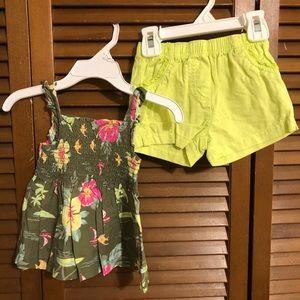 Hawaiian-print shorts set